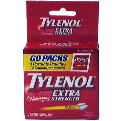 TYLENOL CAPLET 12-6s EXTRA-STRENGTH