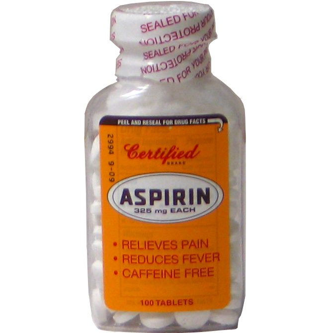 Certified Aspirin 24-100 tablets 5 Grains